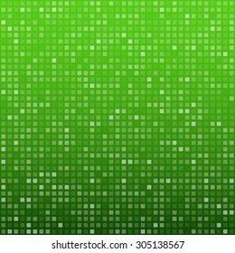 Technology pattern composed of green squares. Vector background.