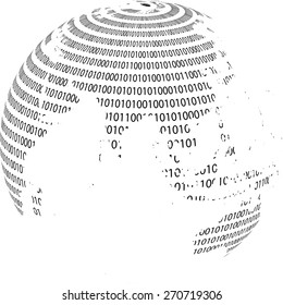 Technology planet. Binary code background . Abstract  World Globe . Vector illustration.