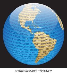 Technology planet. Vector illustration.