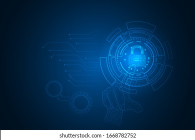 テクノロジーのプライバシーのコンセプト、鍵ロックと円のデジタルテクノロジーセキュリティの抽象的なコンセプト。サイバーセキュリティとプライバシーの背景に手を触れる。