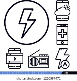 Technology related outline vector icons contains such as electric, radio, auto flash, emergency call icons  - pack of 6