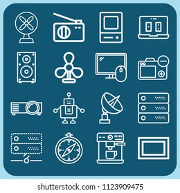 Technology related set of 16 icons such as radio, robot, server, screen, gambler, compass, fan, television, computer, projector, camera, speaker, satellite dish