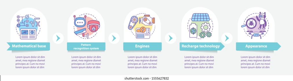 Technology in robotics vector infographic template. Business presentation design elements. Data visualization with five steps and options. Process timeline chart. Workflow layout with linear icons