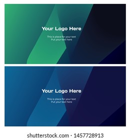 Technology, science and business background banners set in green, blue and purple colors. Vector illustration, design element.