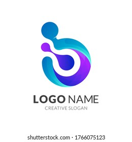 Technology and science logo design, modern 3d logo style