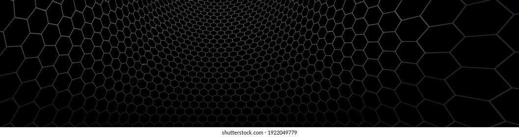 Technology and science vector background, tech abstraction with hexagons mesh electronics and digital style in 3D dimensional perspective, abstract illustration.