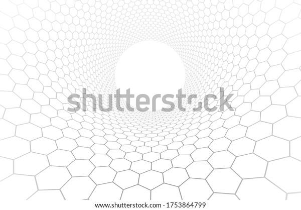 Technologie und Wissenschaft, Vektorhintergrund, technische Abstraktion mit Hexagons Messtechnik und digitaler Stil in 3D-Dimension, abstrakte Illustration.