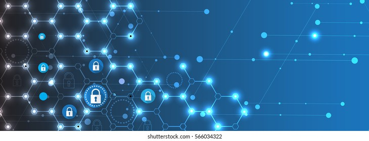 Technology security concept. Modern safety digital background. Protection system