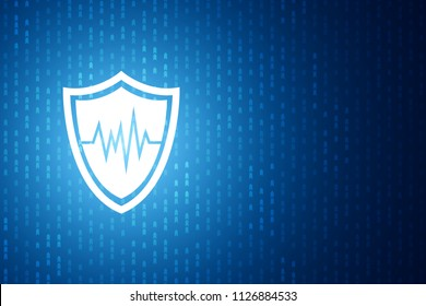 Technology shield icon , protection concept , Blue speed digital pattern , matrix background
