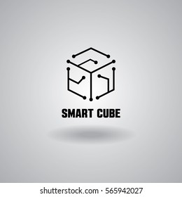 Technology Smart Cube logo, computer and data related business, hi-tech and innovative, electronic
