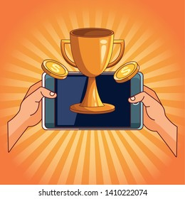 technology smartphone making money investment winner champion succes trophy cartoon  over yellow striped background vector illustration graphic design