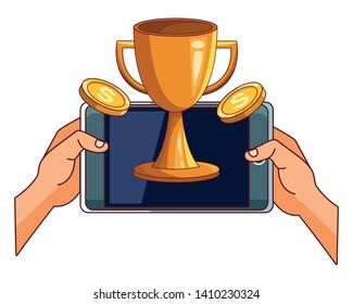 technology smartphone making money investment winner champion succes trophy cartoon vector illustration graphic design