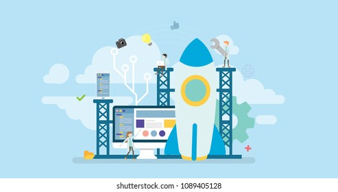 Technology Startup Product Launch Tiny People Character Concept Vector Illustration, Suitable For Wallpaper, Banner, Background, Card, Book Illustration, Web Landing Page, and Other Related Creative