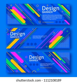 technology style banner with colorful lines and blue background