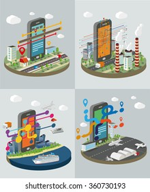 Technology Symbols with smart phones. Set of concept vector illustration..