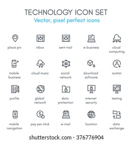 Technology theme line icon set. Pixel perfect fully editable vector icon set suitable for websites, info graphics and print media.