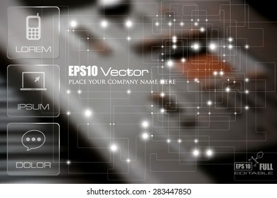 Technology theme template. Flat web or print design with glass appearance displays over a hi tech control panel background