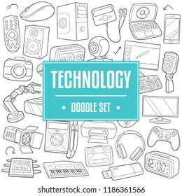 Technology Traditional Doodle Icons Sketch Hand Made Design Vector