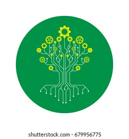 Technology tree stylized as an electronic circuit and yellow cog on green circle,Flower made of gear wheels. A vector illustration