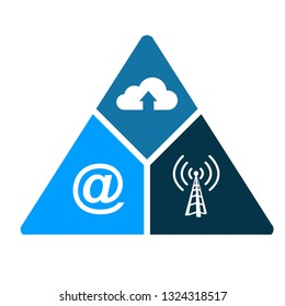 technology triangle, internet, communication and storage. illustration design isolated over a white background.