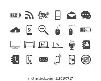 Technology vector icon set.