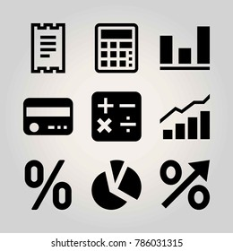 Technology vector icon set. analutics, invoice, chart and percentage