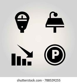 Technology vector icon set. sign, parking meter, table and arrow