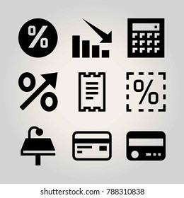 Technology vector icon set. table, lamp, arrow and persentage