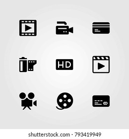 Technology vector icons set. credit card, film roll and hd