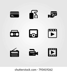 Technology vector icons set. video camera, credit card and boombox