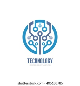 Technology - vector logo for corporate identity. Abstract chip sign. Network, internet tech concept illustration. Design element.