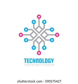 Technology - vector logo template concept illustration. Computing network creative sign. Electronic digital chip symbol. Design element.