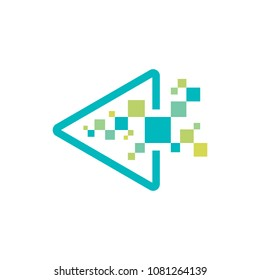 Technology - vector logo template for corporate identity. Triangle arrow abstract chip sign. Network, internet tech concept illustration. Play multimedia. Design element
