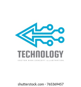 Technology - vector logo template for corporate identity. Triangle arrow abstract chip sign. Network, internet tech concept illustration. Design element.