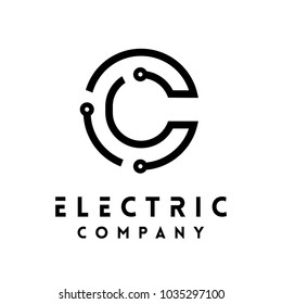 Technology vector Logotype forming the letter C. Minimal design electric circuit board logo.