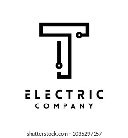 Technology vector Logotype forming the letter T. Minimal design electric circuit board logo.