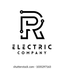 Technology vector Logotype forming the letter R. Minimal design electric circuit board logo.