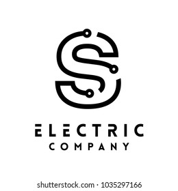 Technology vector Logotype forming the letter S. Minimal design electric circuit board logo.
