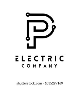 Technology vector Logotype forming the letter P. Minimal design electric circuit board logo.