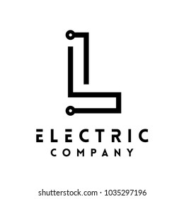 Technology vector Logotype forming the letter L. Minimal design electric circuit board logo.