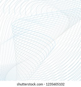 Technology vortex imitation. Contamporary scientific background. Twisted thin waving lines. Abstract wavy pattern. Line art futuristic design. Vector template in blue, gray, white. EPS10 illustration
