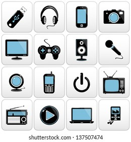 Technology web icons. Computer and electronic devices.