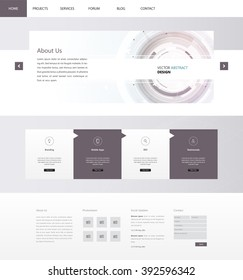 Technology Website Template Vector Eps10, Modern Web Design with flat UI elements and abstract header. Ideal for Business layout.