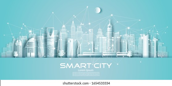 Technology wireless network communication smart city with architecture in Saudi Arabia downtown skyscraper on blue background, Vector illustration futuristic green city and panorama view.