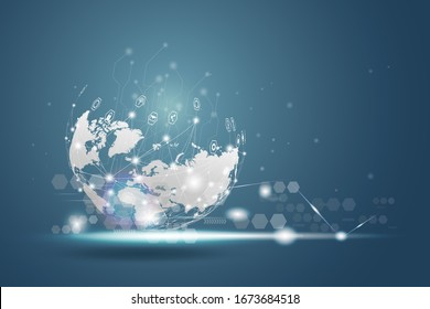 Technology wireless network globe communications system with world map.  Point and line composition concept. Global business communication internet network line icon, Vector illustration background.