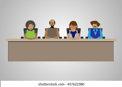 Technology/Business People sitting on a Table in an Interview Panel, Illustration of compartment acting as a judgment or interview panel.