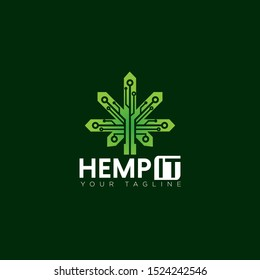 techy logo hemp it, with geometry leaf of cannabis and circuit vector