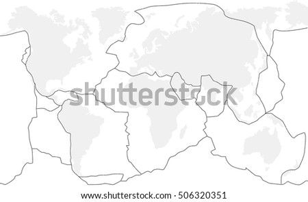 Unlabeled Map Of World.Tectonic Plates Unlabeled World Map Fault Stock Vector Royalty Free
