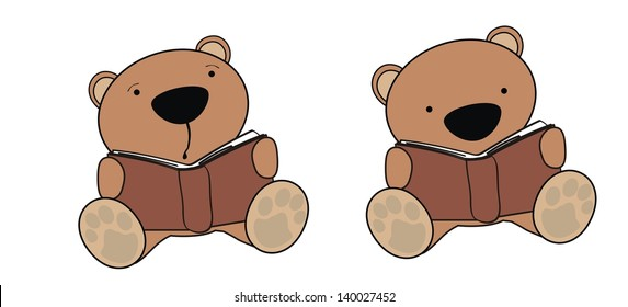 teddy bear baby cartoon reading set in vector format very easy to edit