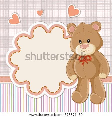 teddy bear baby baby shower invitation stock vector royalty free